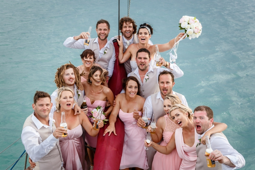 bridal party aboard of Summertime